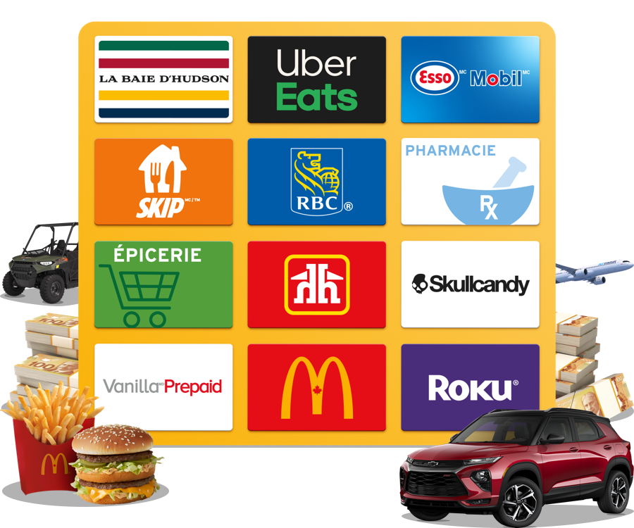 Des prix offerts par HBC, Uber Eats, Esso Mobil, Skip the Dishes, RBC Rewards, Home Hardware, Skullcandy, Vanilla, Roku et beaucoup d'autres